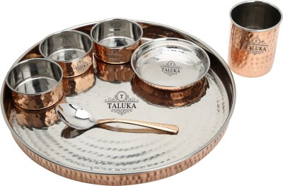 Taluka Copper Steel Hand Made Kitchen Plate/Thali Dinner Set Of 7 ( 1 Thali, 3 Bowls , 1 Pudding Bowl, 1 Spoon, 1 Copper Glass ) Pack of 7 Dinner Set(Copper, Stainless Steel)