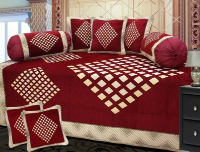 The Dazzling House Chenille Abstract Diwan Set at flipkart