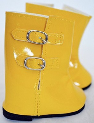 DollsHobbiesNMore Yellow Rain Boots For American Girl S18 Nch Clothes Will(Gold)