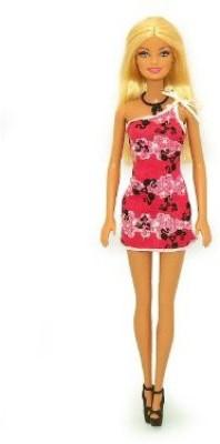 Mattel Barbie Pink And Black One Shoulder Dress 12 Inch(Multicolor)