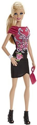 Barbie Fashionista Black And Pink Floral Dress(Multicolor)