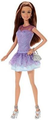 Barbie Fashionista Teresa Doll, Purple Lace Dress(Multicolor)