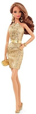 Barbie The Look: Gold Dress Doll(Multicolor)