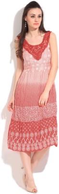 Honey By Pantaloons Women Gathered Pink, White Dress