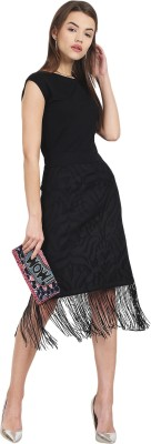 Griffel Women A-line Black Dress at flipkart