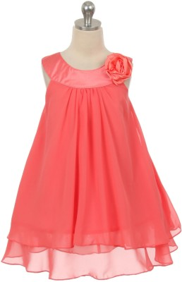 Magic Fairy Midi/Knee Length Party Dress(Orange, Sleeveless) at flipkart