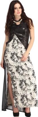 Sassy Stripes Women Maxi Black Dress