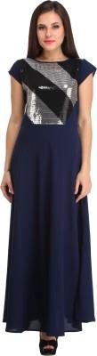 Cottinfab Women Maxi Blue Dress at flipkart