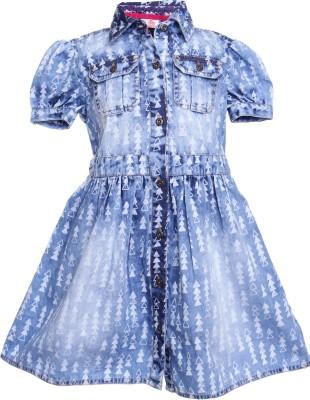 UFO Girls Midi/Knee Length Casual Dress(Dark Blue) at flipkart
