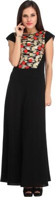 Cottinfab Women Maxi Black Dress at flipkart