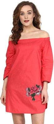 Sassafras Women Shift Red Dress at flipkart
