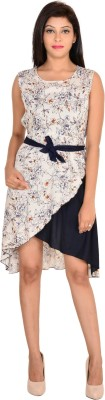 VS Fashion Women High Low Beige Dress