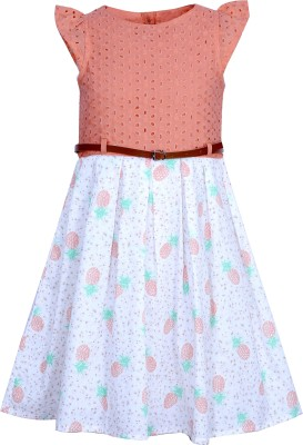 Bella Moda Girls Gathered Multicolor Dress