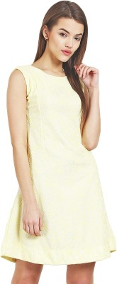 Griffel Women A-line Yellow Dress at flipkart