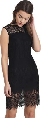 Griffel Women A-line Black Dress at flipkart