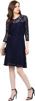 Pluss Women A-line Blue Dress