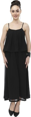 Girliyana Women Fit and Flare Black Dress