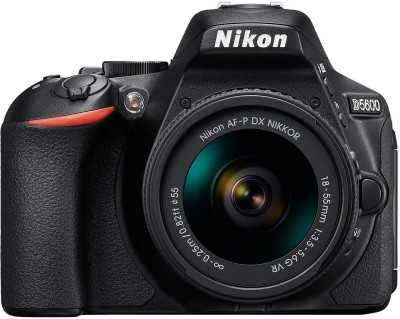 Nikon D5600 DSLR Camera Body with Single Lens: AF P DX Nikkor 18 55 MM F/3.5 5.6G VR  16  GB SD Card  Black