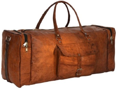 Pranjals House 20 inch/50 cm  Expandable  genuine leather duffle bag Travel Duffel Bag Brown Pranjals House Duffel Bags