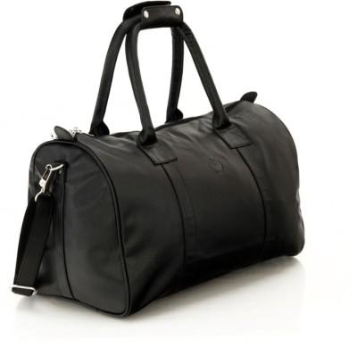 MbossSleek Faux leather Unisex Black Small Travel Bag   Medium Black
