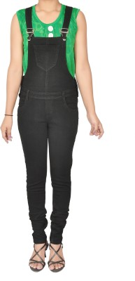 Broadstar Women Black Dungaree at flipkart