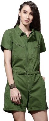 Roadster Women Green Romper at flipkart
