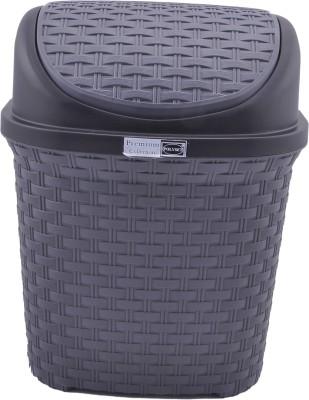 Polyset Rattan Series Plastic Dustbin(Grey) at flipkart