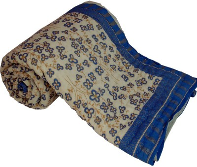 Little India Floral Double Quilts & Comforters Beige, Blue(Quilt)