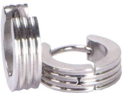 Shotshop Square Silver Stainless Steel Stud Earring at flipkart
