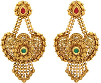 Voylla Artificial Classic Textured Crystal Copper Dangle Earring at flipkart