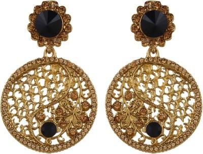 Fabula Gold & Black Zircon American Diamond AD CZ & Pearl Traditional Ethnic Jewellery Jewellery Filigree Women, Girls & Ladies Metal Dangle Earring at flipkart