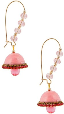 Halowishes Designer Pink Hancrafted Kidney Hook Jhumka Paper Hoop Earring  available at flipkart for Rs.289