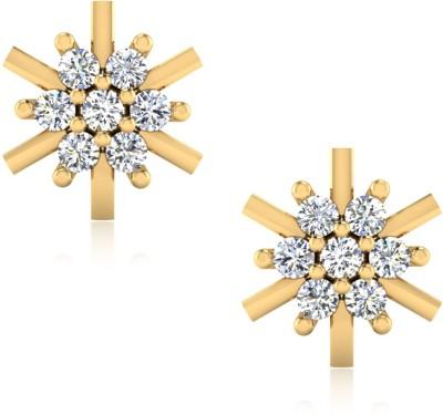 IskiUski Elysse Yellow Gold 14kt Swarovski Crystal Stud Earring
