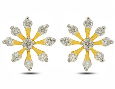 P.N.Gadgil Jewellers Bejewelled Blossom Yellow Gold 18kt Diamond Stud Earring(Yellow Gold Plated) at flipkart