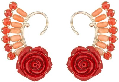 Mirror White Rose Coral Cuffs Silver Cuff Earring at flipkart