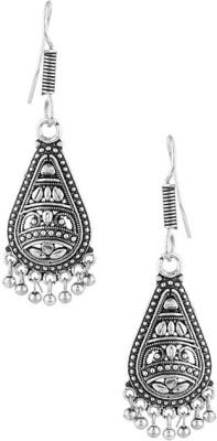 Gemshop Oxidized Silver Tone Geometric Jhumki Alloy Dangle Earring
