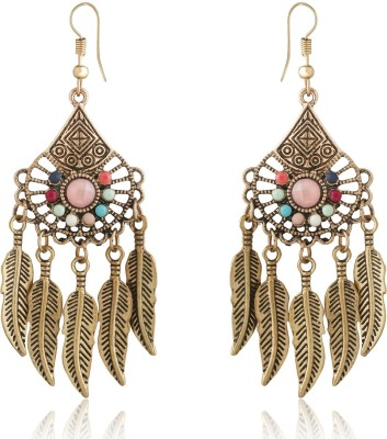 Spargz Long Fashion Color Beads Leaves Dangle Earrings For Women Beads Alloy Dangle Earring at flipkart