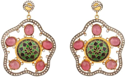 Mirror White Glass Pink Zircon Earrings Sterling Silver Drop Earring at flipkart