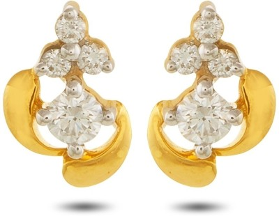 P.N.Gadgil Jewellers Dainty Delight Yellow Gold 18kt Diamond Stud Earring(Yellow Gold Plated) at flipkart