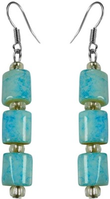 Crystals & Beads Turquoise Blue Colour Drum Bead & White Crystal Acrylic, Glass, Crystal Dangle Earring  available at flipkart for Rs.229