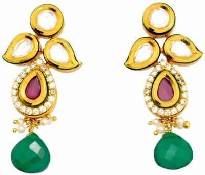 YugshaJewels Elegant YJE-1429 Ruby, Pearl, Cubic Zirconia Brass Drop Earring