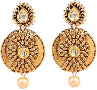 GoldNera 18K Goldplated Kundan Sun Alloy Drops   Danglers GoldNera Earrings