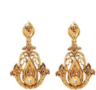 GoldNera 18K Goldplated Kundan Europian Alloy Drops   Danglers GoldNera Earrings