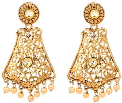 GoldNera 18K Goldplated Kundan Rani Alloy Drops   Danglers GoldNera Earrings