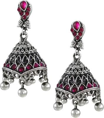 Zaveri Pearls Designer Pink Stones Oxidised Zinc Jhumki Earring at flipkart