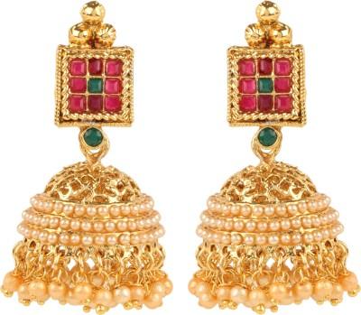 Shining Jewel 24K Designer Temple Jhumki Pearl Copper Jhumki Earring  available at flipkart for Rs.291