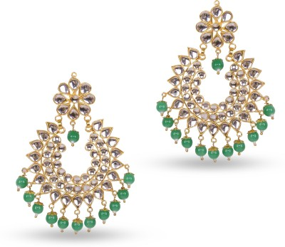 Pink Pitch Light Weight Kundan Jade Alloy Chandbali Earring at flipkart