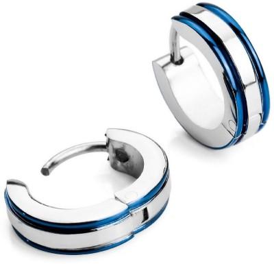 Vaishnavi First Quality Korean Made Beautiful Two Blue Stripe 316L Surgical Stainless Steel Huggie Earring at flipkart