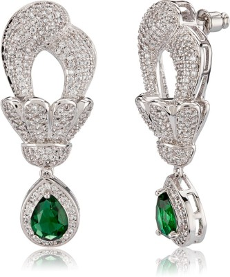 Shaze Royal Green Brass Drop Earring at flipkart