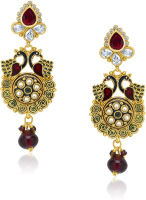VK Jewels Amazing Mayur Diamond Zinc Drop Earring at flipkart